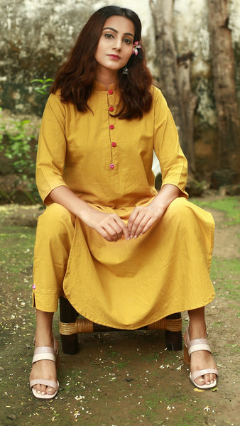 Mandarin collar tunic and palazzo set: Earthy yellow