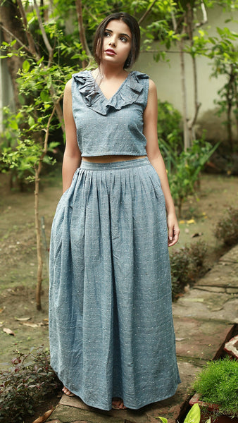 Polka crop top: Deep Grey