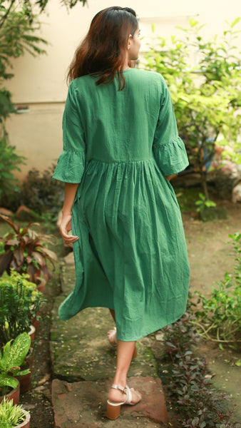 Ocean green embroidered gathered dress