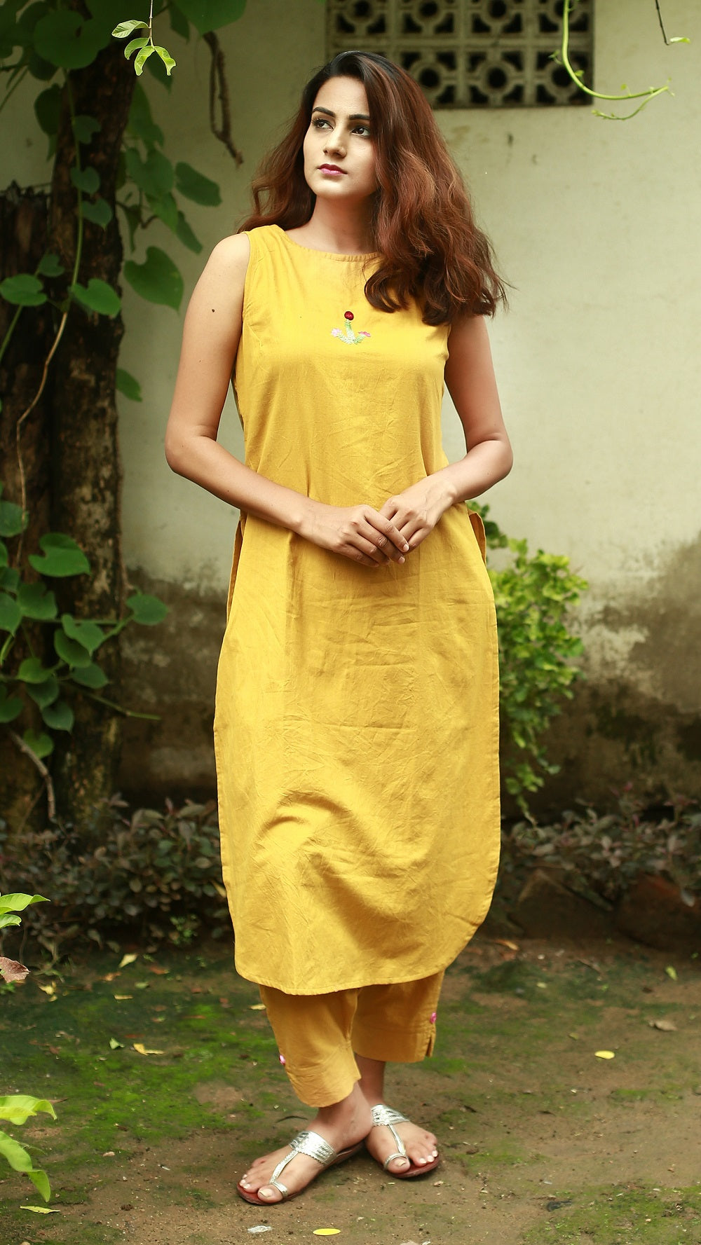 Flora tunic: Earthy yellow