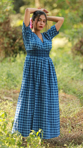Blue Check Long Dress