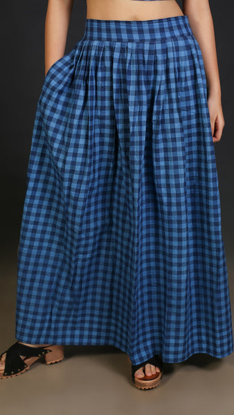 Blue check Crop top and skirt