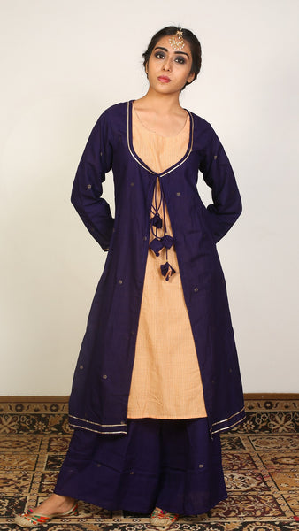 Blue layered kurta set
