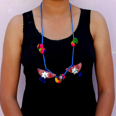 Blue textile necklace by bebaak