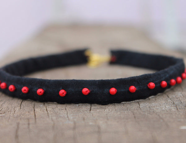 Choker and Necklace: Textile upcycled choker