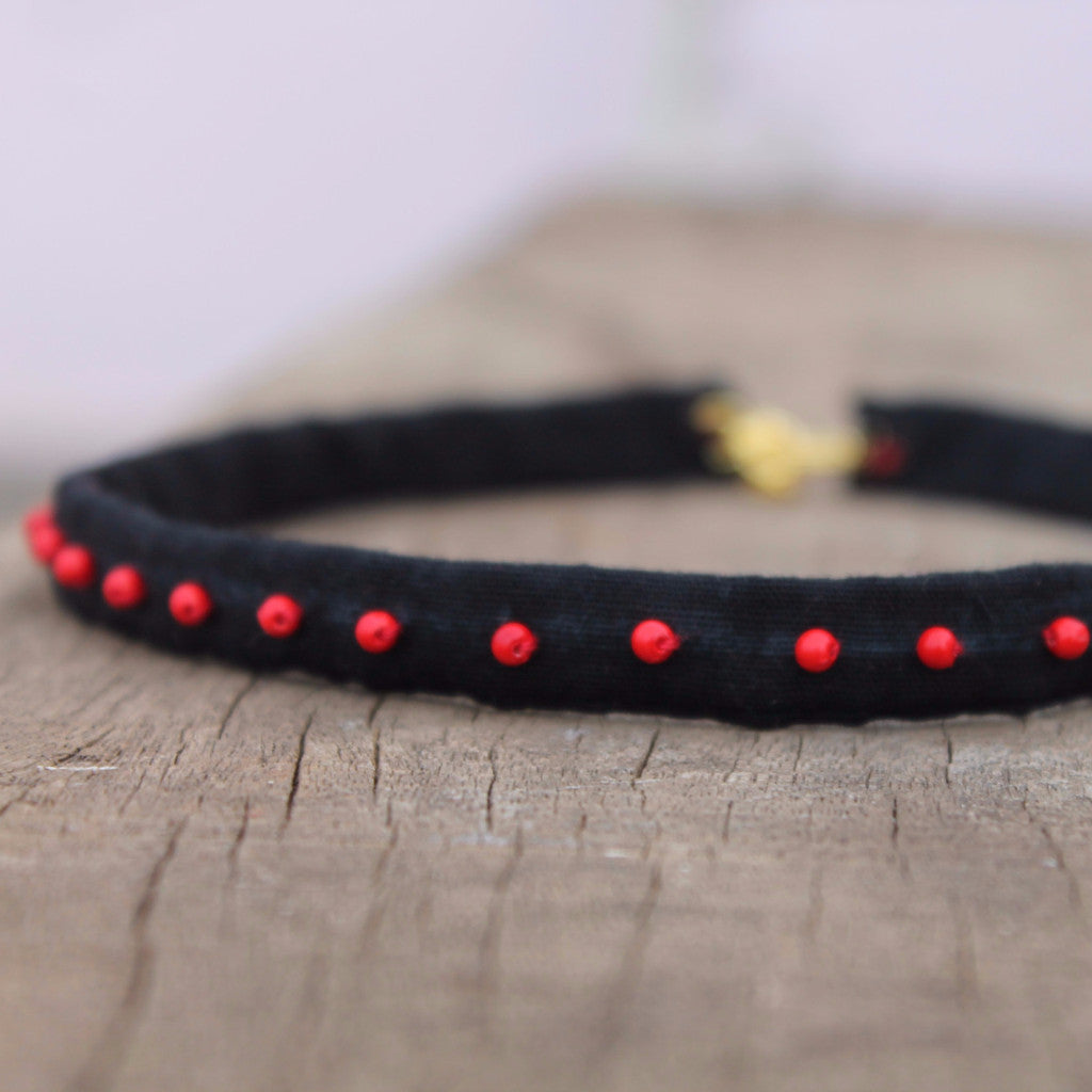 Choker: Black upcycled textile choker necklace