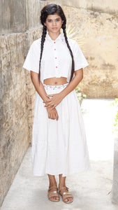 White cotton crop shirt and skirt set