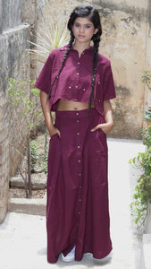 Maroon cotton crop shirt and skirt set