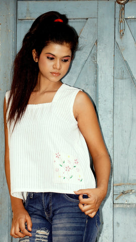 white cotton crop top