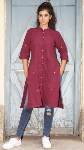 Maroon cotton stand collar kurti