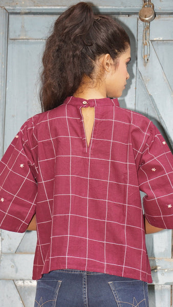 Antifit boxy cotton hand embroidered maroon top
