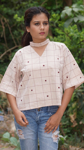 Antifit boxy cotton hand embroidered light brown top