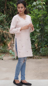 Hazel nut embroidered tunic