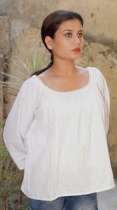 White cotton top: Loose fit
