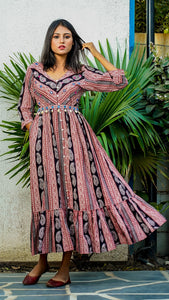 Shop Bagh print Flared cotton maxi dress online at bebaakstudio.com