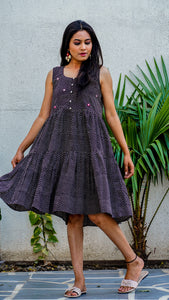 Shop Bagh print black polka tiered dress online at bebaakstudio.com