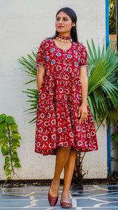 Shop Bagh print red floral tiered dress online at bebaakstudio.com