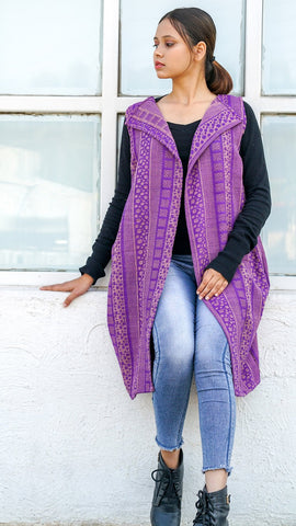 Rain drop purple jacquard overlay
