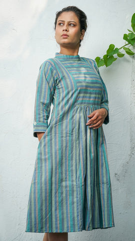Victoria striped turquoise gather dress online at bebaakstudio.com