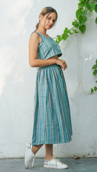 Serena striped turquoise skirt set