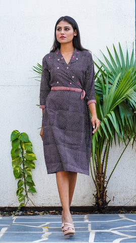 Shop Bagh print black polka wrap dress online at bebaakstudio.com