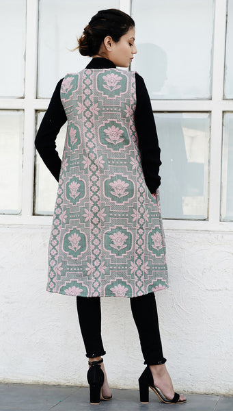 Lotus emerald green jacquard overlay: Sleeveless
