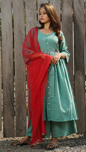 Ocean green embroidered gathered tunic 3 pc set