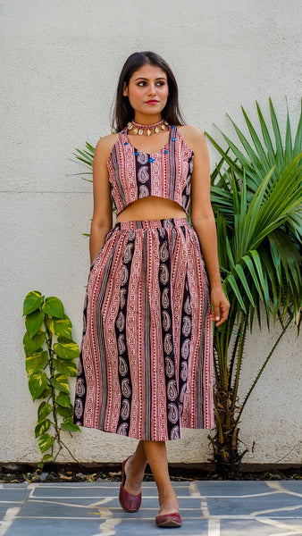 Shop Bagh print morni skirt set online at bebaakstudio.com