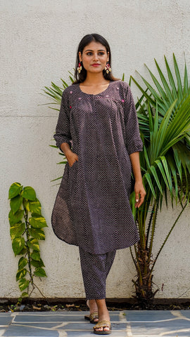 Shop Bagh print black polka tunic set online at bebaakstudio.com