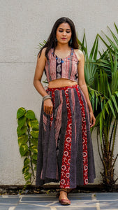 Shop Bagh print Panel skirt set online at bebaakstudio.com
