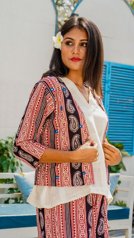 Shop Bagh print shrug  jacket online at bebaakstudio.com