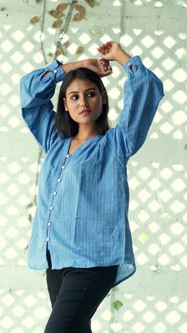 Shop blue anti fit Shirt from Bebaak online at bebaakstudio.com