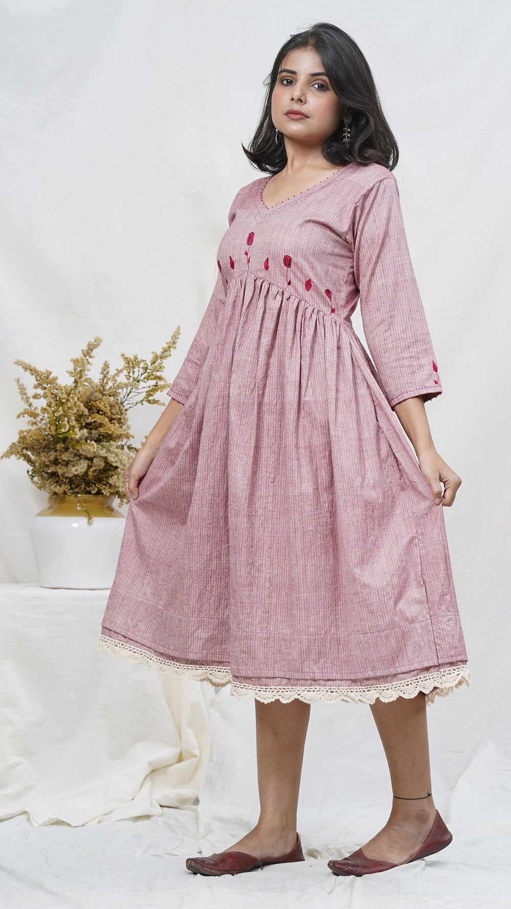 Rosy embroidered midi dress online at bebaakstudio.com