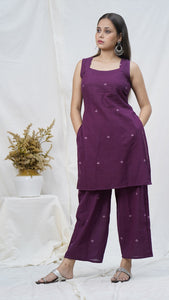 Deep wine short kurta set online at bebaakstudio.com