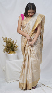 Gold pure kosa silk handloom saree online available at bebaakstudio.com
