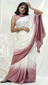 Rosy handwoven ombre cotton saree online available at bebaakstudio.com
