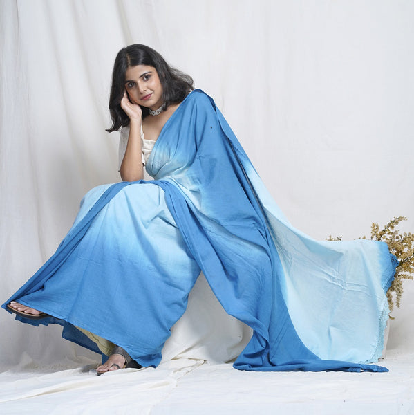 Neer handwoven ombre cotton saree online available at bebaakstudio.com