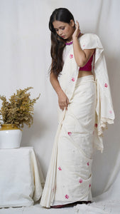 kora hand embroidered muslin saree available online at bebaakstudio.com