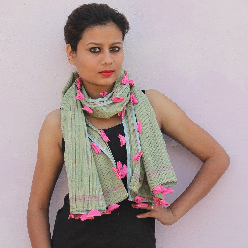 Green soft stripe floral stole