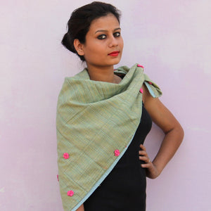 Green soft stripe floral scarf