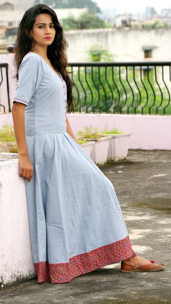 Grey handwoven cotton flared long dress