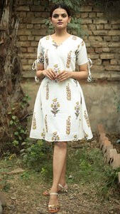 Mughal print off white A line dress