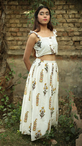 Mughal print off white crop top and skirt set