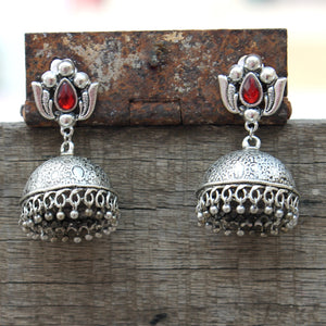Lotus Jhumka with Red stone