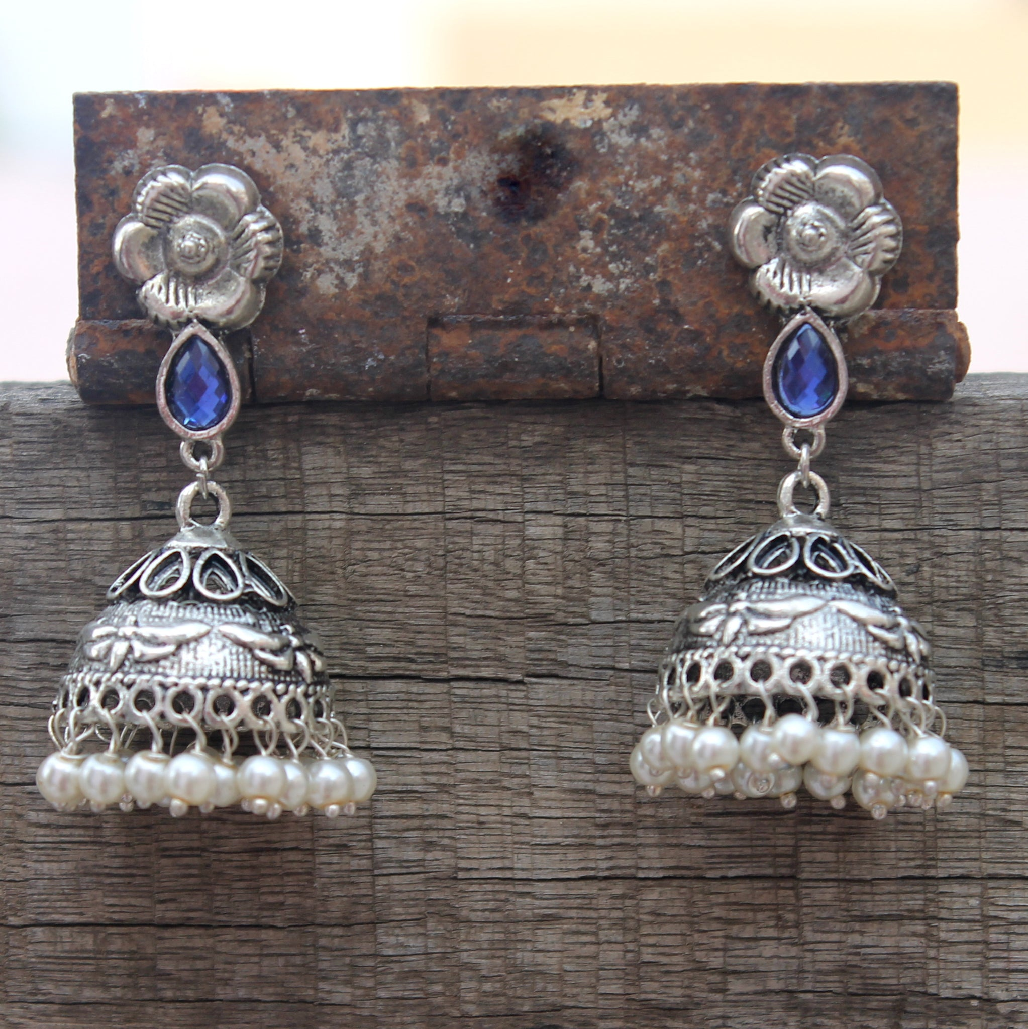 floral jhumka with blue stone