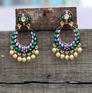 Rainbow enamel drop earring- black green