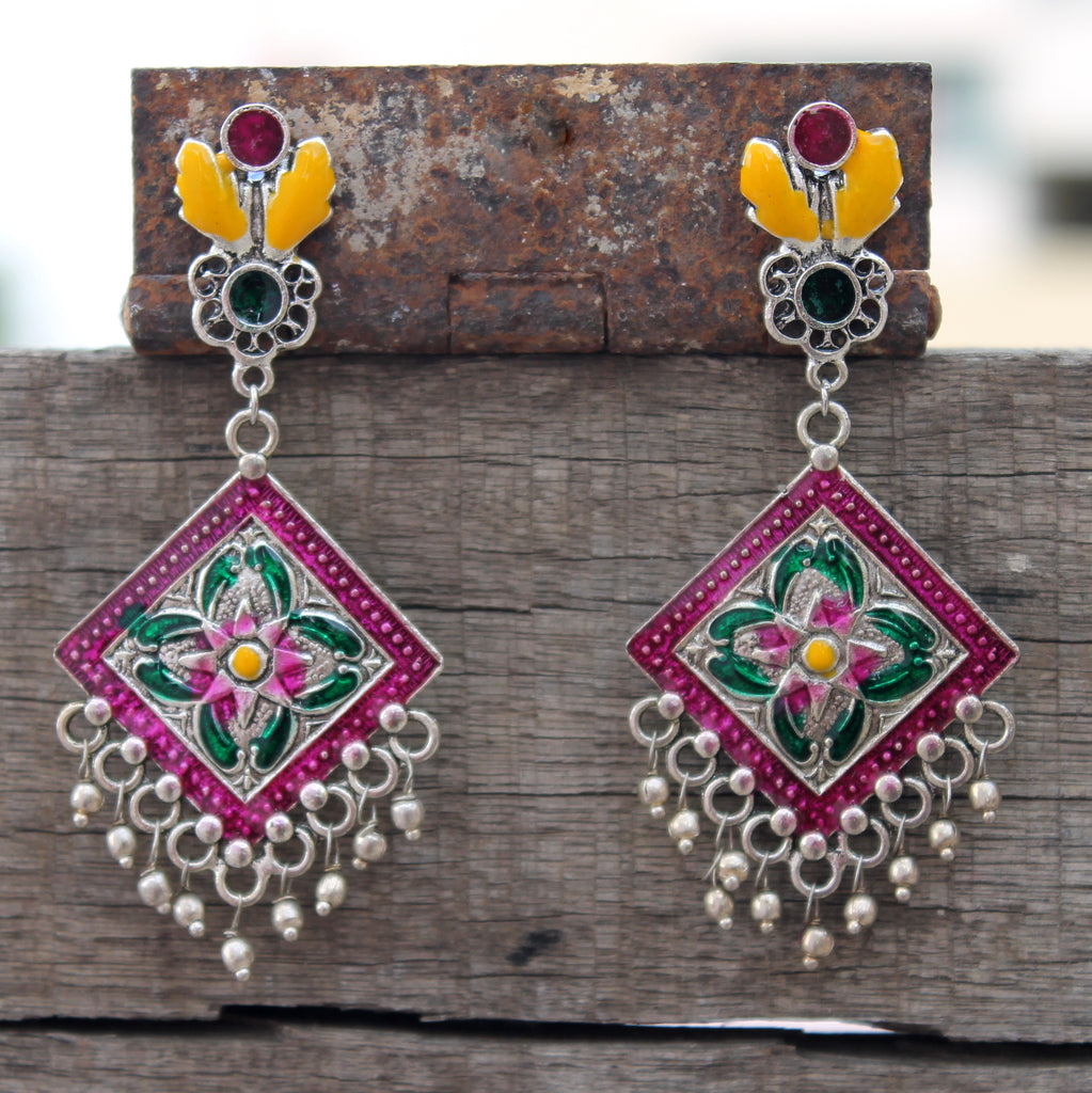 Multicolour geometry enamel drop earring