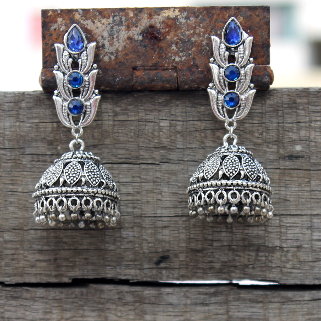 Lotus Jhumka with blue stone