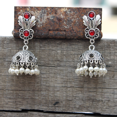 Floral jhumka with red stone