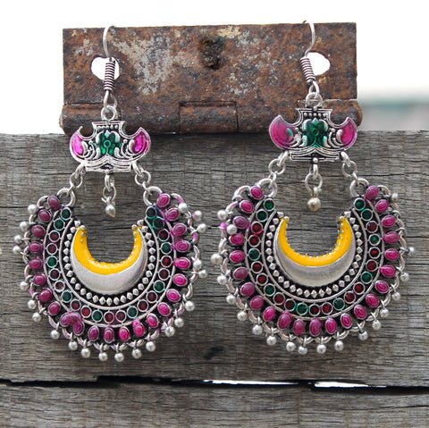 Multicolour moon enamel drop earring